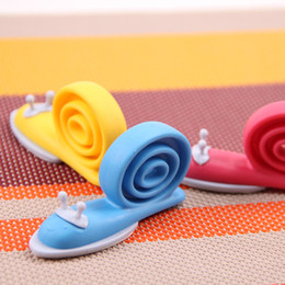 Wholesale Child Security Products - Wholesale- 3 Pieces Lot Snail Child Baby Safety Gate Card Door Stopper 360 Rotatable Sticky Baby Security Doors Product Gate Resistance