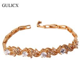 Wholesale 24k Gold Wedding Bangles - Wholesale-GULICX Korean Fashion Charm Bracelets Bangles 24K Yellow Gold Plated White Crystal CZ Zirconia Wedding Bracelet For Women L024