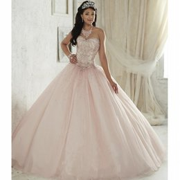 Wholesale Crystal Bead Light - New Elegant Light Pink Ball Gown Quinceanera Dresses 2017 Beaded Crystals Appliques Sweet 16 Dresses For 15 Years Debutante Gown QC264