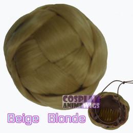 Wholesale Blonde Buns - Beige Blonde Clipin Odango Braid Hairpiece Bun -9cm Diameter 6cm Height -Cosplay