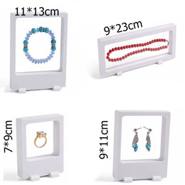 Wholesale Crystal Window Beads - Free Shipping 4Pcs White Transparent Suspension Window Case Multifunctional Jewelry Earring Bracelet Bead Necklace Ring PET Display Stand