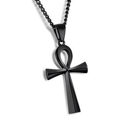 """Ciondolo nero ankh online-25x43mm Geroglifico Gioielli Significato """"Life"""" Egyptian Ankh Pendenti Collana in acciaio inox - argento, oro, nero"""