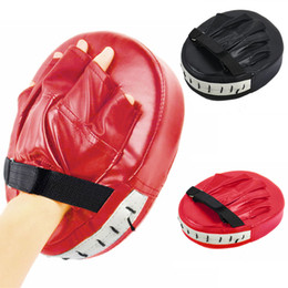 Wholesale Focus Gear - Black Red Boxing Gloves Pads for Muay Thai Kick Boxing MMA Training PU Foam Boxer Target Pad Flat Focus Mitten