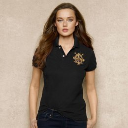 Wholesale female skull shirts - Women Polo Shirt Badge Embroidery Short Sleeves Polo Flat Collar Female Brand Clothes Lycra Soft Polo Shirts
