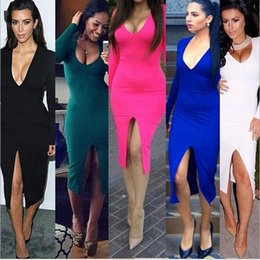 Wholesale Sexy Body Tight Dress - Sexy Charming Dress for Party Club Slim Dress Tight Split Long Sleeved Body Skirt Pet Club ouc200