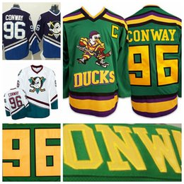 Wholesale vintage spun cotton - Mighty Ducks Movie 96 Charlie Conway Jersey Worn 1993-94 Green Color Stitched Sewn Anaheim Ducks Vintage Charlie Conway Hockey Jerseys S-3XL