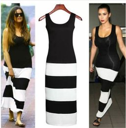 Wholesale Kim Kardashian Peplum Dresses - Summer Style Kim Kardashian Long Maxi Dress Beachwear Striped Dresses Cotton Long Robe De Plage Tunic Party Bandage Wear