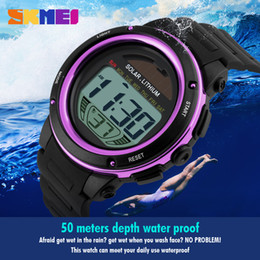 Wholesale Watch Solar - SKMEI Solar Power Sport Watch Men Electronic Masculino LED Watches Military Outdoor Student Relogio Women Wristwatch 1096