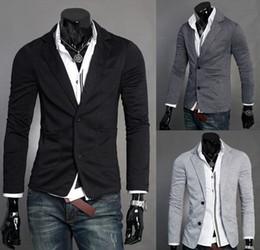 Wholesale Gray Denim Jacket Men - 2017 Single Breasted Fashion mens pure cotton slim fit business suit Men's leisure Blazers Men's joker coat Men's jackets knitted M-XXL
