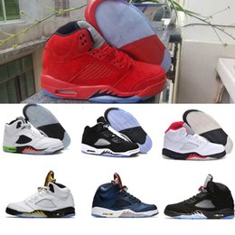 Wholesale Blue Fire Design - air retro 5 basketball shoes 2017 new design Fire & Ice sport shoes cheap sneaker Red blue Suede OG Black Metallic Bronze Oreo fast shipping