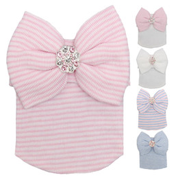 Wholesale Big Muff - European and American baby hat big butterfly shining drill autumn and winter spring newborn baby knitting hat tires cap striped hat