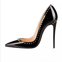 Wholesale Sexy Shoes Spiked - {Original box}Luxury Women Brand High Heels 12cm Sexy Rivets Spike Red Bottom Thin Heels Fashion Pointy Toes Pumps Shoes EU with size 34--45