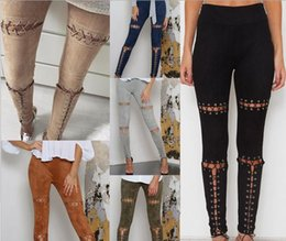 Wholesale Sexy High Waisted Hot Pants - New fashion leisure selling hot sexy strap eyelet explosion suede casual pants pencil pants   high waisted trousers S-Lcm