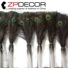 Wholesale Feather Christmas Decorations - China Trading Manufacturer ZPDECOR feathers 70-80cm 28-32inch 100pieces lot Long Natural Peacock Feather Decorations Bulk Feathers