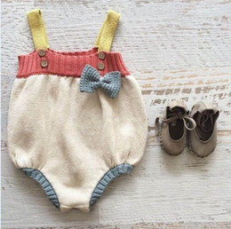 Wholesale Wholesale Baby Jumpsuits - ins 2017 New Baby Girl Bodysuits Bow Knitted Cotton Sleeveless Colorful TUTU Jumpsuit Overalls Toddler Clothing 0-2Y SU001