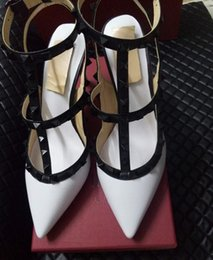 Wholesale High Heels Clear Straps - 2017 Brand Design Stylish Woman Pointed Patent Leather Shoes With Double Buckle Shoe Party And Daily heels Shoes 35-42