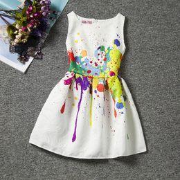 Wholesale Girls Doodles - Girls Boutique jacquard satin dress kids summer sleeveless Graffiti dress doodle butterfly sundress Vest Skirt for 6-12T
