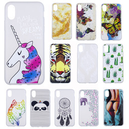 Wholesale Hand Paint Iphone Case - Scrub Painting Clear Transparent TPU Case Hand Painted Ultra Thin Cover for iPhone X 8 7 6s Plus Samsung S8 S6