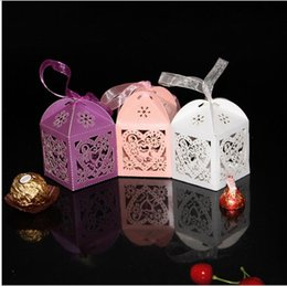 Wholesale Chinese Small Party Gifts - Small Gift Bags Lots Love hollow box Dress Wedding Favours Free Shiping Candy Holder Boxes AOP--005