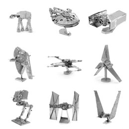 Wholesale New Year Puzzle Diy - AIBOULLY Finger Rock 3D Metal Puzzles Assemble DIY R2D2 Tie Xwing Fighter Millennium Falcon Model Toys New Year Christmas Gift
