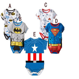 Wholesale Boys Superman Halloween Costumes - 3pcs lot New Toddler Baby Romper Boy Kids Cartoon Pattern Super Hero Summer Rompers One-piece Hero Costumes Superman Batman Romper
