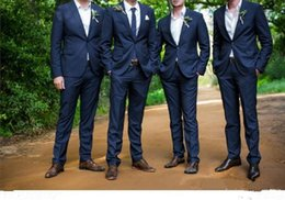 Wholesale Cheap Groomsmen Black Suits - Top Selling Men Tuxedo 2017 Cheap Navy Grooms Tuxedos 100% Handmade Groomsmen Formal Suits Two Pieces Custom Made One Button (Coat+Pants)