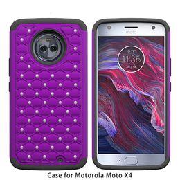 Wholesale Iphone Case Bling Starry - Armor Case For Motorola Moto X4 Motorola Moto E4 Metropcs iphone x 8 plus Bling Diamond Starry Rubber PC + Silicone Rhinestone Cover