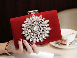 Wholesale Ivory Wedding Clutch - Wholesale- 2016 New Single Side Sun Diamond Crystal Evening Bags Clutch Bag Hot Styling Day Clutches Lady Wedding woman bag.