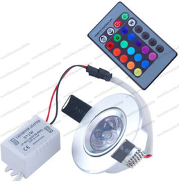 Wholesale Dj Wall - 2017 NEW 3W 85-265V RGB Ceiling Downlight Ceiling Light Wall Lamp Recessed Lamp Spotlight with Remote Control RGB LED Bulb KTV DJ Party MYY
