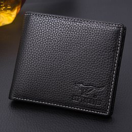 Wholesale Septwolves Fashion - Wholesale- Septwolves Genuine Leather Men's wallet black and coffee Brand Cowhide purse Business ultrathin men's purse card wallet