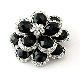 Wholesale Black Rhinestone Flower Brooch - SILVER COLOR CLEAR CRYSTAL and BLACK STONE FLOWER BOUQUET BROOCH PIN