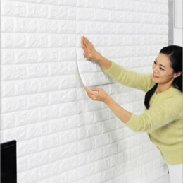 Wholesale Self Adhesive Wallpaper Bricks - 70x77cm PE Foam 3D Wall Stickers Safty Home Decor Wallpaper DIY Wall Decor Brick Living Room Kids Bedroom Decorative Sticker