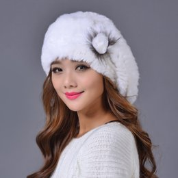 Rex Rabbit Fur Hat Genuine Rex Rabbit Fur Hat Hand Knitted Lady Winter 100% Real  Caps for Women Winter Beanies MS.MinShu 84f173eb8362