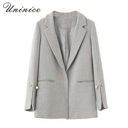 Wholesale Graceful Women Coats - 2017 Pearl Women Long Blazer Women Jackets Grey Elegant Jackets Women Blazers Slim Coat Casual Graceful Female Suit Autumn