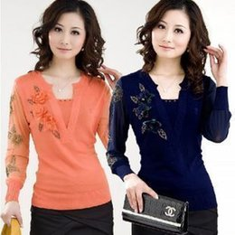 Wholesale Dress Belts Jumper - Wholesale-Spring New Mother Dress Big Yards Loose Sweater Bottoming Long-Sleeved V-Neck Embroidery Lace,Jumper Korean Sweater S-XXXL