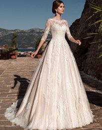 Wholesale Castle Long Sleeves - Sexy A Line Wedding Dress Bateau 3 4 Long Sleeve Embroidered Castle Poet Backless Floor Length Bridal Gowns
