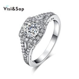 84716da87d69 Visisap Anillo de color oro blanco joyería de moda AAA circón cúbico Anillos  de compromiso de la boda para mujeres regalo precio de fábrica VSR171