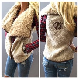 Wholesale Khaki Vest Wholesale - Monogrammed Faux Fur Shearling Vest women winter warm Monogram Vest High quality Monogram women winter Outterwear