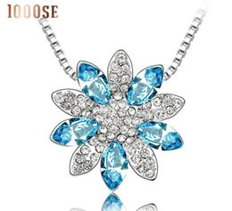 Wholesale Lotus Flower Jewelry Gold - 2017 new 1000SE Quality goods woman Crystal Necklace Lotus flowers High-end Pendant Ornaments jewelry sale