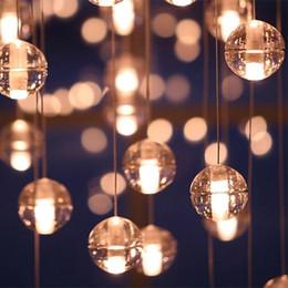 Wholesale Crystal Glass Pendant Lighting - LED Crystal Glass Ball Pendant Lamp Meteor Rain Ceiling Light Meteoric Shower Stair Bar Droplight Chandelier Lights AC110-240V Chandeliers