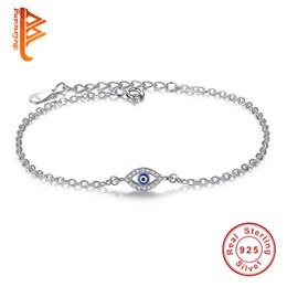 Wholesale Evil Eye Silver Charm - BELAWANG Luxury for Women Jewelry 925 Sterling Silver Woman Bracelets CZ Crystal Charms Bracelet Blue Enamel Evil Eye Beads Bracelet
