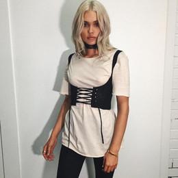 Wholesale Leather Lace Zipper Corset - Wholesale- Heyouthoney fashion 2017 new women 8 clolors black tank shoulders corsets belt front lace up back zipper womens' belt