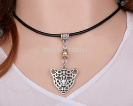 Wholesale Glass Mouse Pendant - Vintage Silver Dinosaur Tiger Bone Trophy Cat Chicken Hen Bird Dog Tree leaves Mouse Leather Necklace Pendant Women Jewelry H120