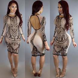 Wholesale Tight Knee Length Dresses - Womens Sexy Long Sleeved Backless Tight Bodycon Floral Print Cocktail Party Dress fashion Evening Dresses Clubwear