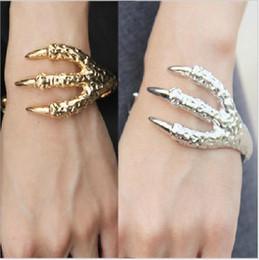 Wholesale Dragon Claw Bangle - 30PCS Vintage PUNK Bracelets Jewellery,Big Eagle talons Bangles Hawk Dragon Bangle Bracelet 3 claws Animal Jewelry F283