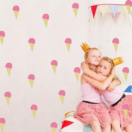 Wholesale Ice Creams Wall Stickers - 54 pcs lot Diy Ice Cream Wall Stickers Cute Pink Vinyl Wall Decals Nordic Kids Girls Children Room Home Decoration Kawaii Wall Art Ornaments