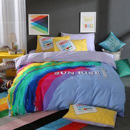 Cotton Iridescence Sports Style Bedding Set Duvet Cover Bed Sheet Pillowcases Bed Linen Bedclothes Home Textiles