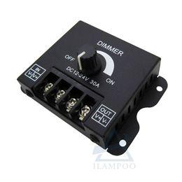 Tira led 3528 24v online-LED Dimmer DC 12V 24V 30A 360W Brillo de lámpara ajustable Controlador de tira de luz de un solo color Controlador de fuente de alimentación de luz 5050 3528