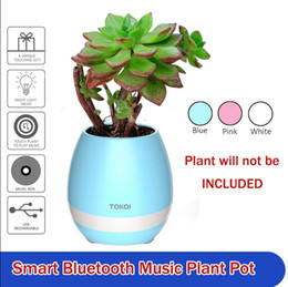 Wholesale Floor Lamp Plastic - Flowerpot Night Lamp Bluetooth Speaker Smart Piano Touch Music Singing Plant Pot