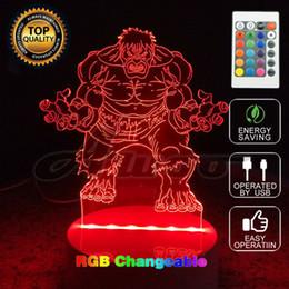 Wholesale Toy Animal Night Light - Avengers Hulk 3D Model Toy Illusion Bulbing Night Light Projection Kids Bedside Table Lamp USB LED Electronic Gadget Home Decor